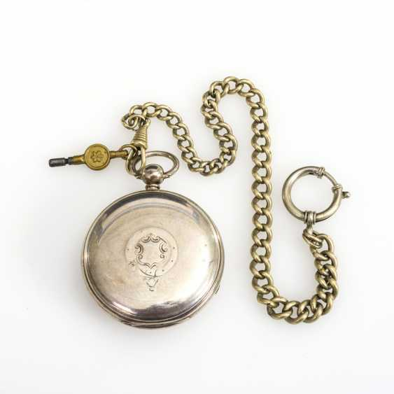 Silver English pocket watch with watch chain - photo 4