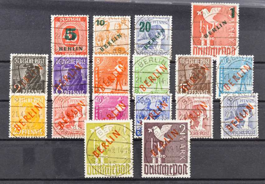 Germany after 1945 - Berlin, free brands with diagonal red overprint BERLIN, 1949, - photo 1