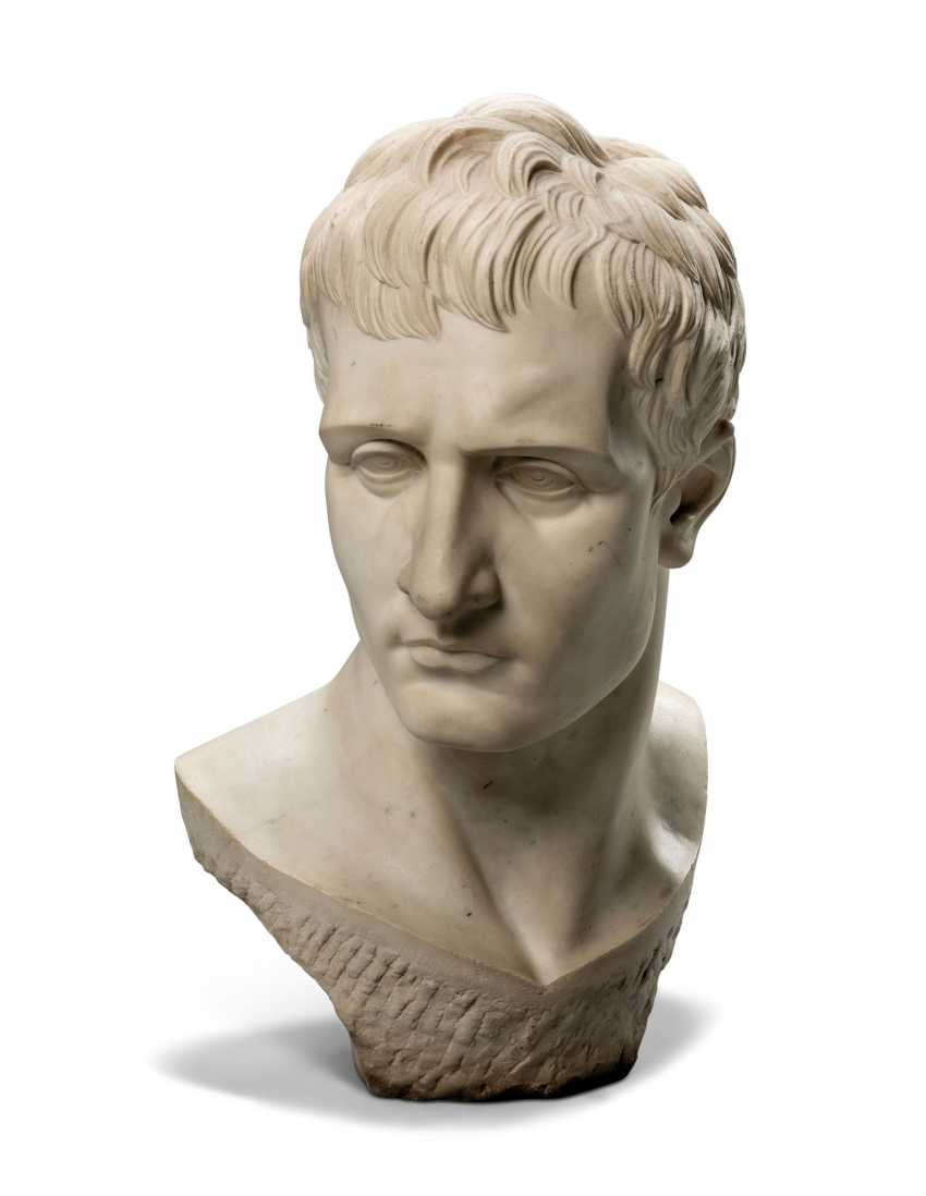 AN ITALIAN WHITE MARBLE OVER-LIFESIZE BUST OF THE EMPEROR NAPOLEON - photo 1