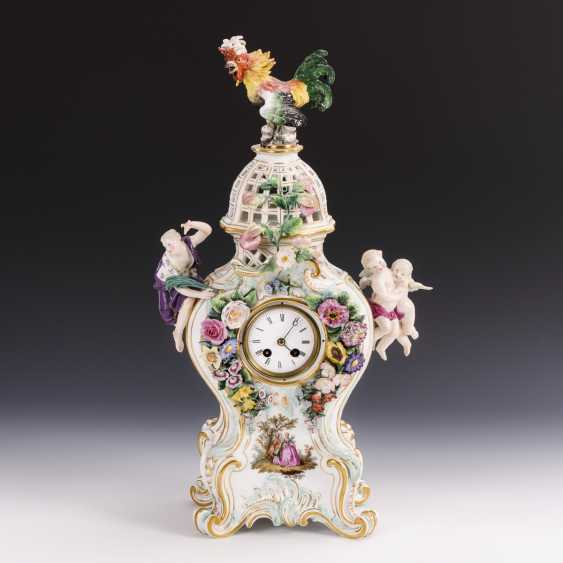 Porcelain clock with cock - photo 1