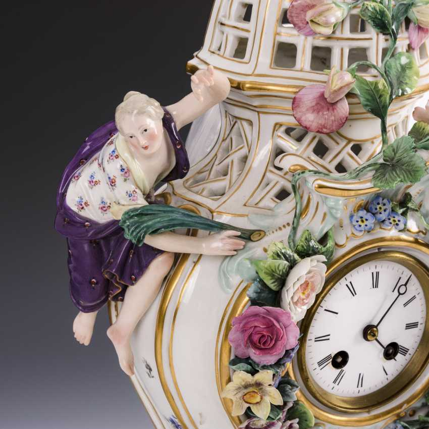 Porcelain clock with cock - photo 2