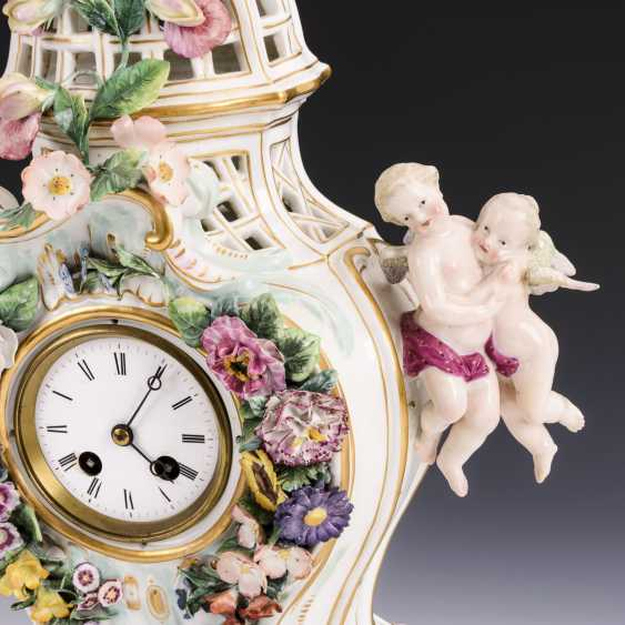 Porcelain clock with cock - photo 3