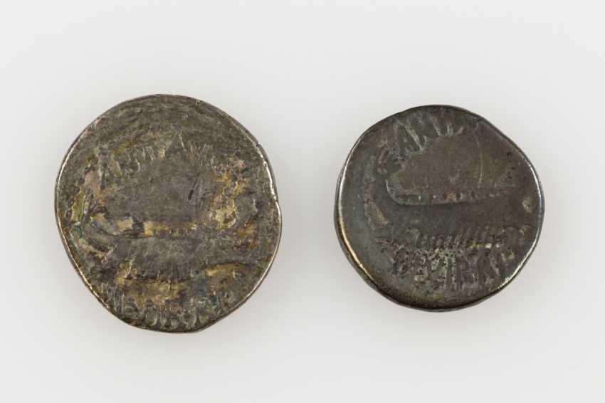 2 piece small vintage Antique the ROM. Republic /silver consisting of 1 x ROM. Republic of - 1 Denar 30 /40s BC, Triumvir Antonius, - photo 1