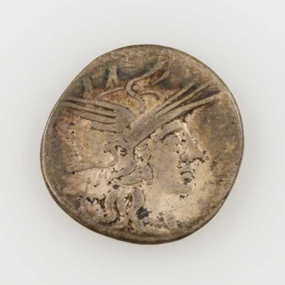 ROM. Republic /silver 1 Denar 144 v. C., T. Annius Rufus, Av; Roma head with wing helmet to the value of characters X, - photo 2