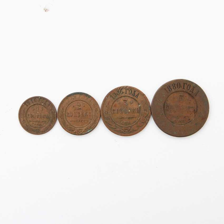 Small set of Russian kopecks of the tsarist Empire - consisting of 1 x 5 kopeks 1880, PP., heavily rubbed, edge, error, - photo 2