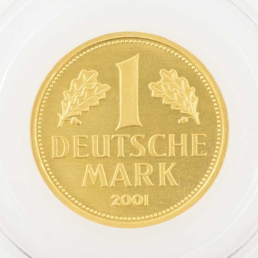 BRD /GOLD - 1 DM 2001 /F, farewell DM, UNC., encapsulated, - photo 1