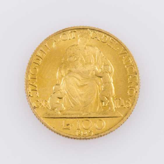 Rare! Vatican GOLD 100 Lire 1945, - photo 2
