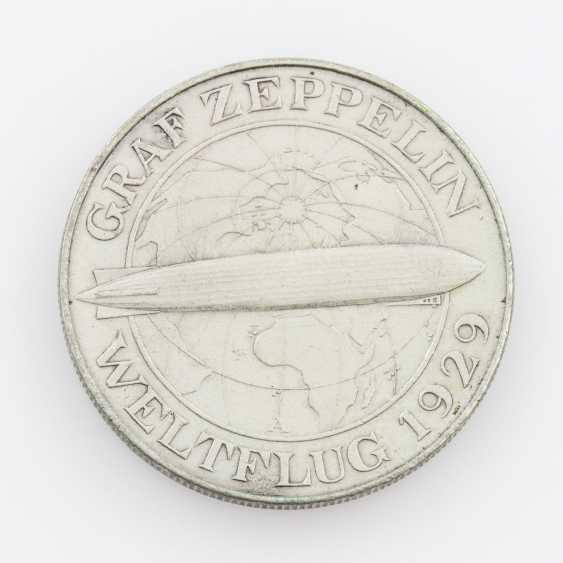 Weimar Republic - 5 Reichsmark 1930 A, world flight of the Zeppelin, - photo 1