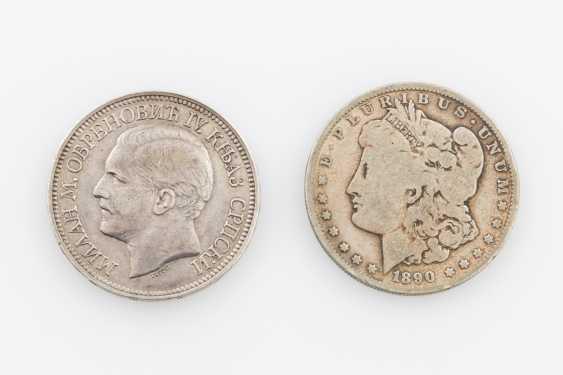 Serbia - 5 Dinar 1879. To: USA 1 Dollar 1890 O - photo 1