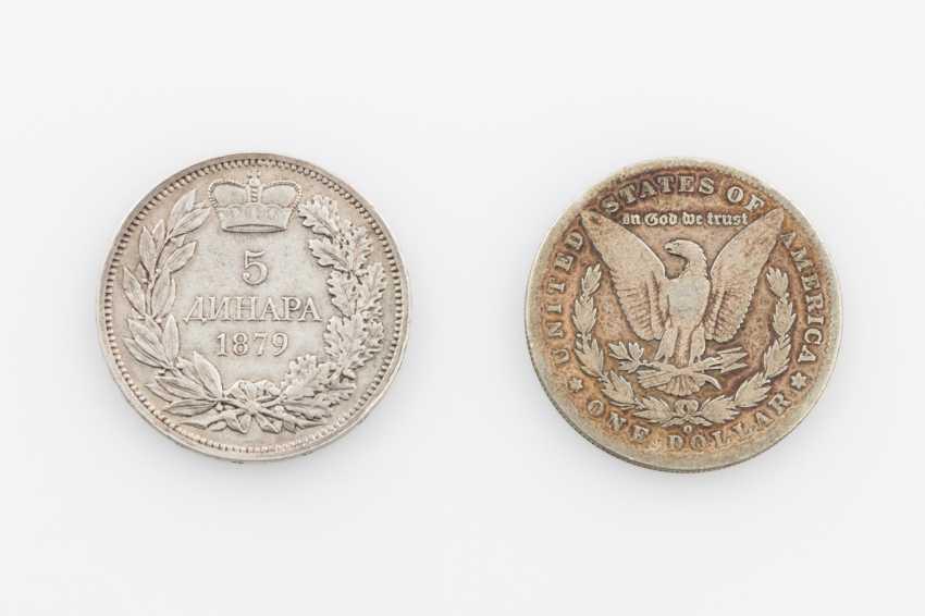 Serbia - 5 Dinar 1879. To: USA 1 Dollar 1890 O - photo 2
