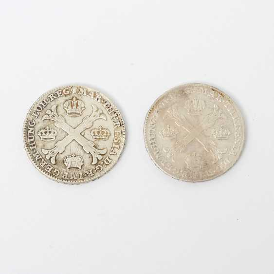 Austria-Hungary - 2 x 1 crown Taler 1767 /1766, Maria Theresa, ss, scratch, for example, T scores, - photo 1