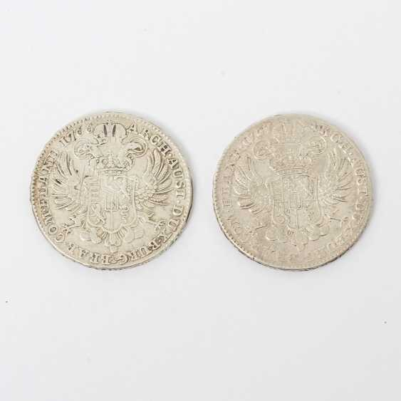 Austria-Hungary - 2 x 1 crown Taler 1767 /1766, Maria Theresa, ss, scratch, for example, T scores, - photo 2