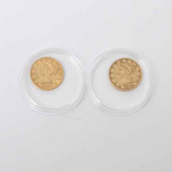 Convert mini schönes gold in the USA - 2 x $ 5 1904 /1903 /S, Liberty Head, ss., - photo 1