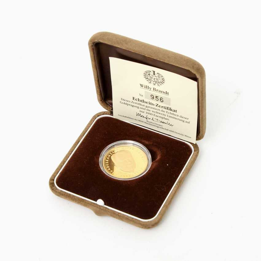 BRD  / Gold - Medaille Willy Brandt 1992, - photo 2