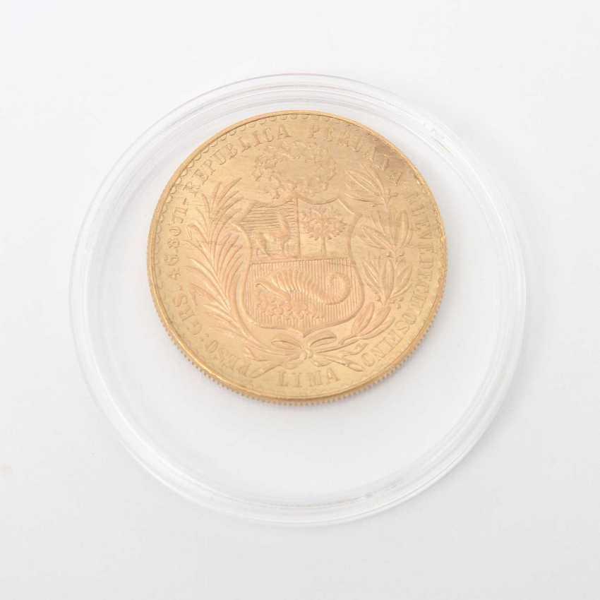 Peru GOLD 100 Soles 1964, Libertad, ss-vz., something covering, - photo 1