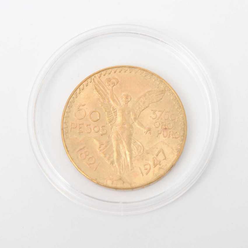 Mexico GOLD 50 Pesos 1947, Centenario, ss., part of Patina, minimal edge error, - photo 1
