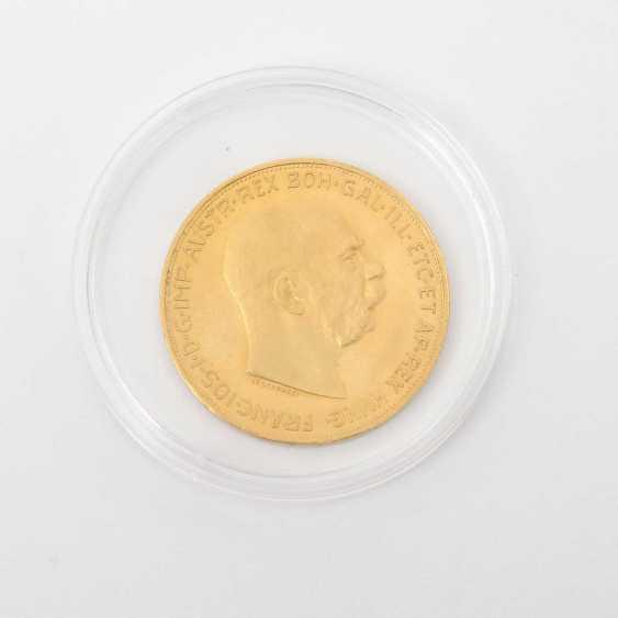 Austria /GOLD - 100 crowns 1915 /NP, Franz Joseph I., ss, a little pad, fingerprint, - photo 1