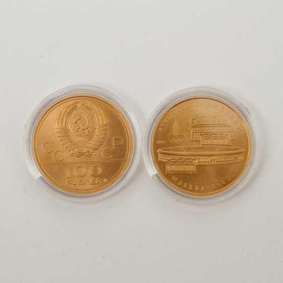 Russland /GOLD - 2 x 100 Rubel Olympiade Moskau 1980, - photo 2