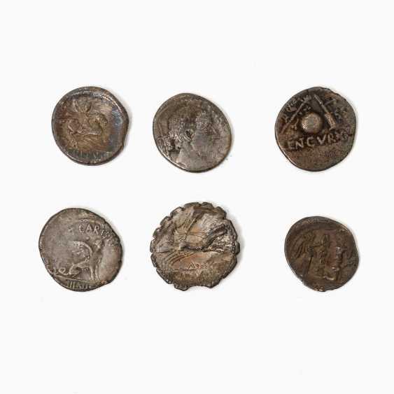 Interesting 6-piece collection of Ancient to the Romans. Republic /silver included 1 x denarius, 46 BC, Rome, Titus Carisius, - photo 1