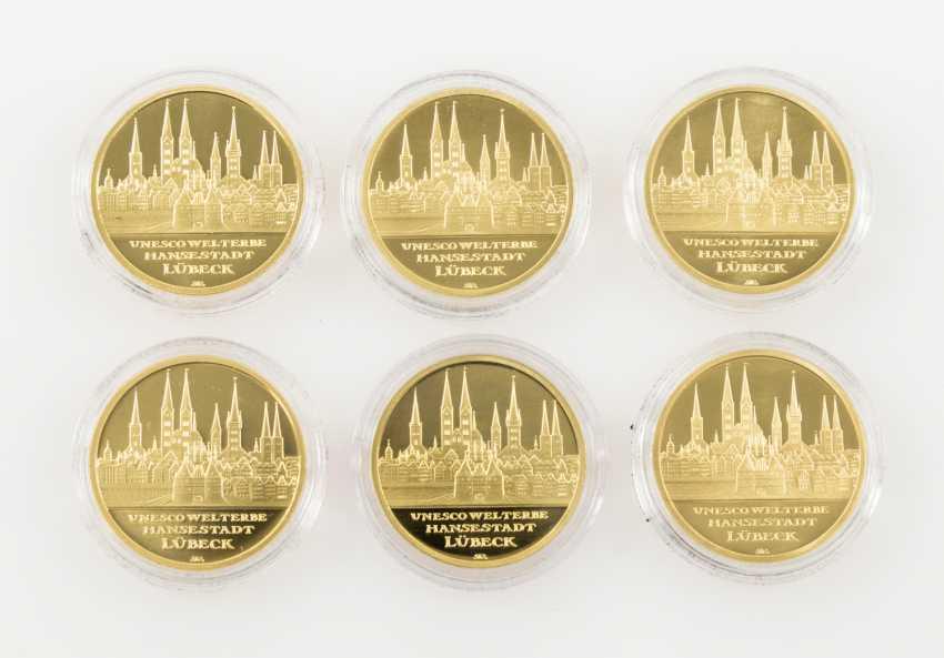 BRD /Gold - 6 x 100 Euro 2007 Lübeck to 1 /2 ounce, - photo 2