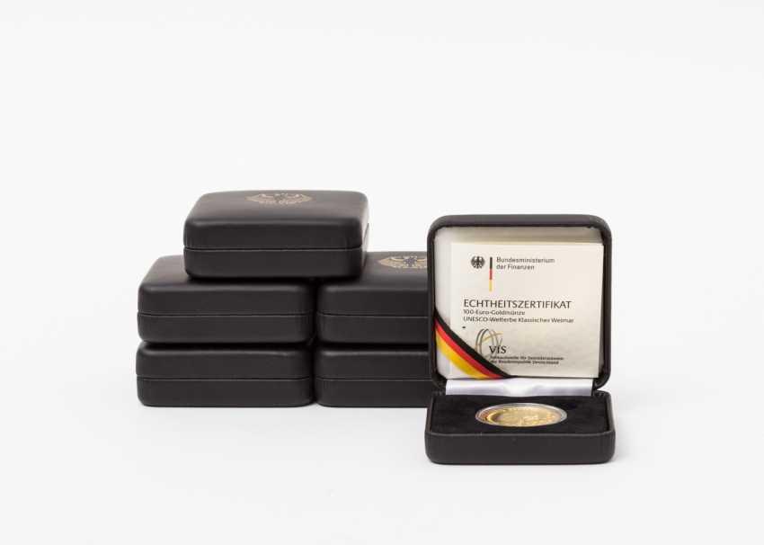 BRD /Gold - 6 x 100 Euro in 2006, Weimar, each 1 /2 oz, - photo 1