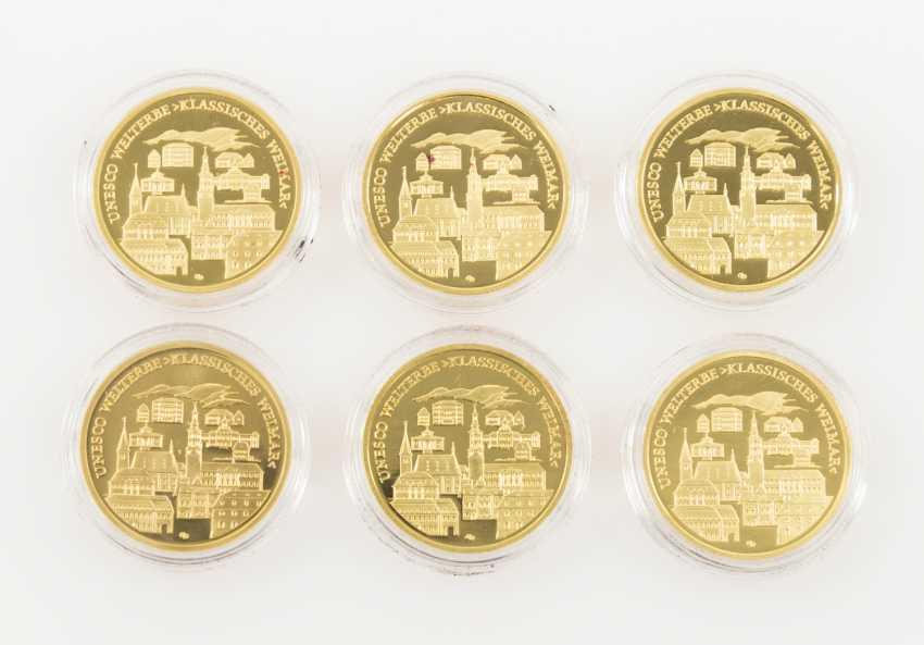 BRD /Gold - 6 x 100 Euro in 2006, Weimar, each 1 /2 oz, - photo 2