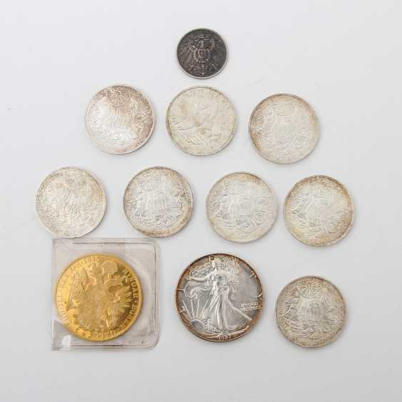 Small group of coins with GOLD and SILVER - 1 x Austria 4 ducats 1915 /NP, Franz Joseph, ss /vz., - photo 1
