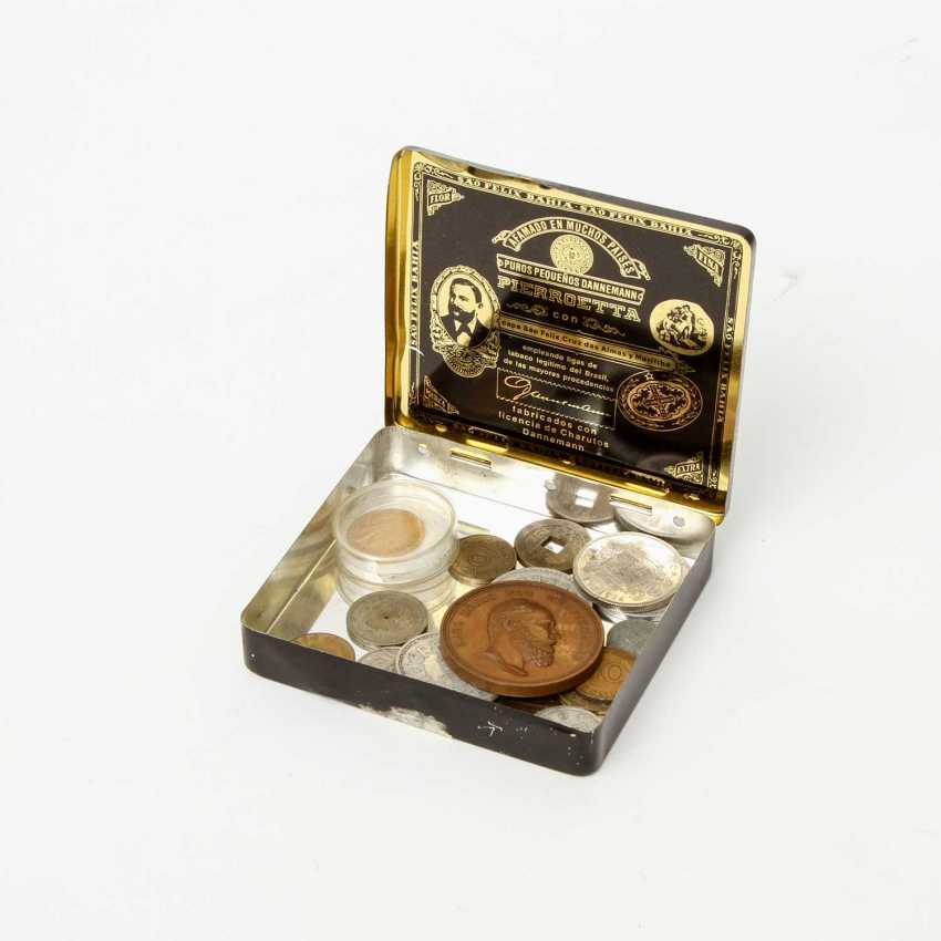 Small collection of coins in a tin can, with GOLD - 1 x Preussen - 20 Mark 1873 /A, Wilhelm, - photo 1