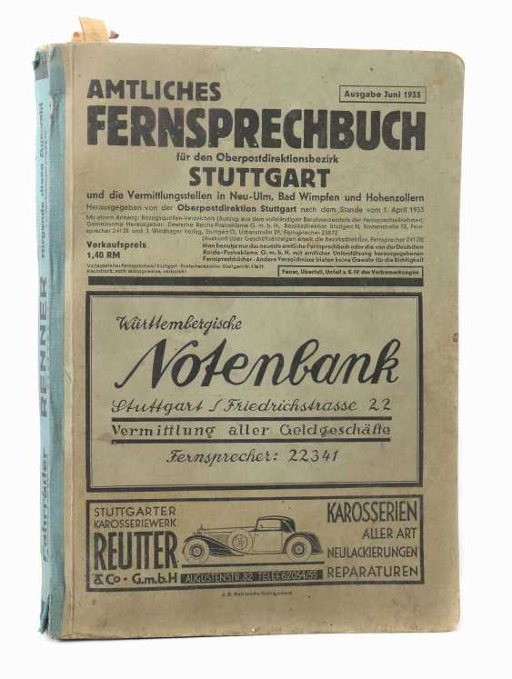 Official telephone directory for the Stuttgart Upper Postal Directorate - photo 1