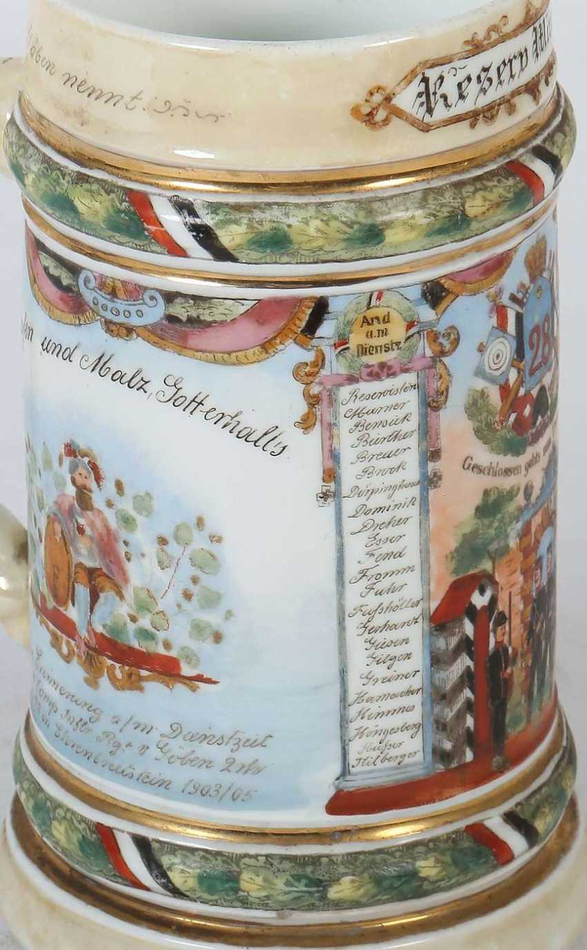 5 Reservistenkrüge Porzellan: ''1. Jäger-Bat. 4. Comp 1868/73 Kempten- Ulrich Müller'' Umdruckdekor - Foto 3