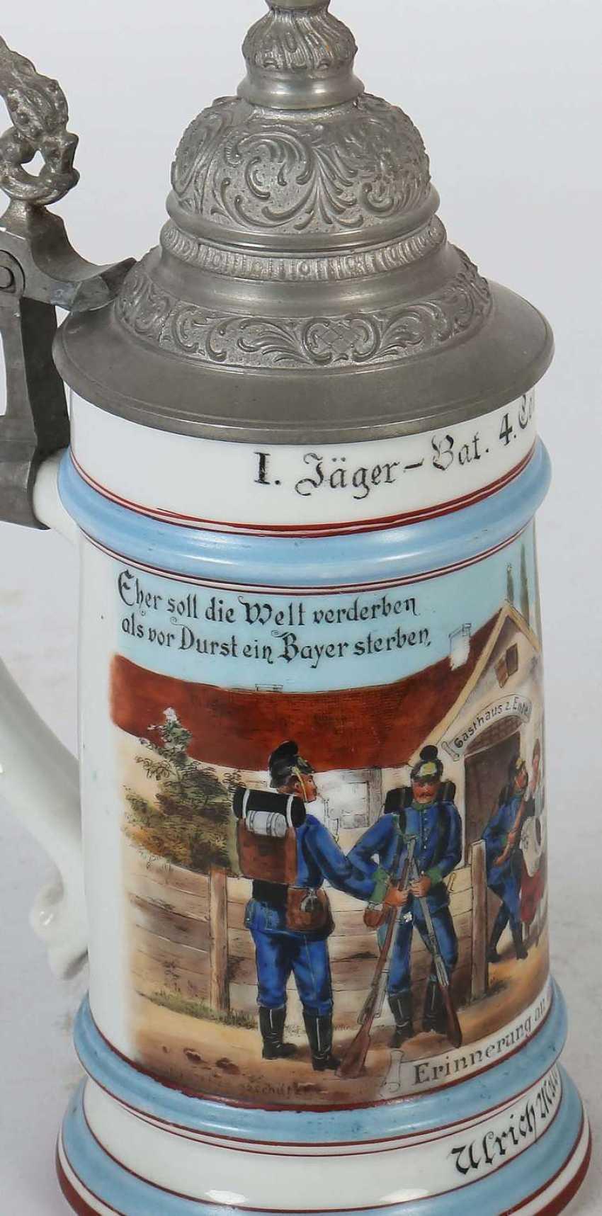 5 Reservistenkrüge Porzellan: ''1. Jäger-Bat. 4. Comp 1868/73 Kempten- Ulrich Müller'' Umdruckdekor - Foto 5