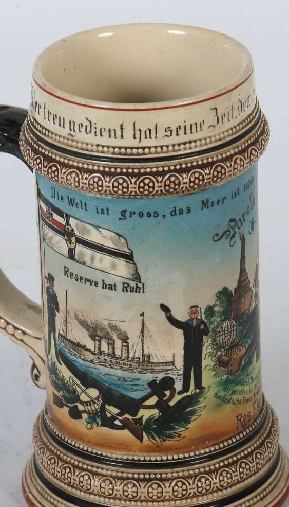 5 Reservistenkrüge Porzellan: ''1. Jäger-Bat. 4. Comp 1868/73 Kempten- Ulrich Müller'' Umdruckdekor - Foto 6