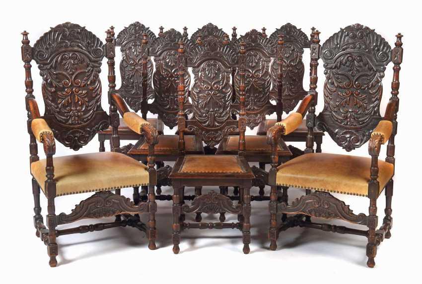 Set of 8 historicism chairs around 1870 - photo 1