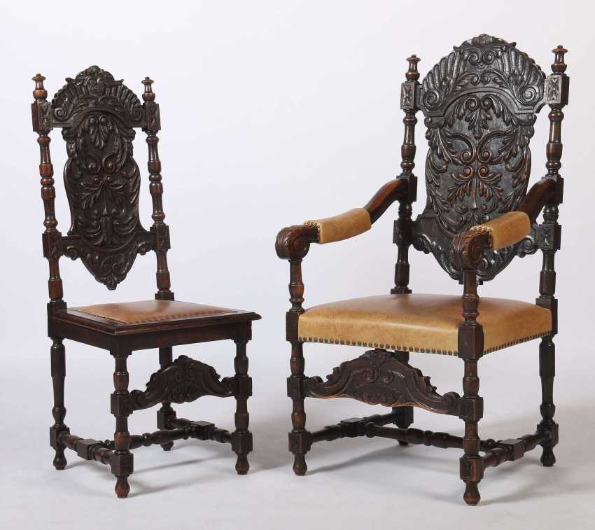 Set of 8 historicism chairs around 1870 - photo 2