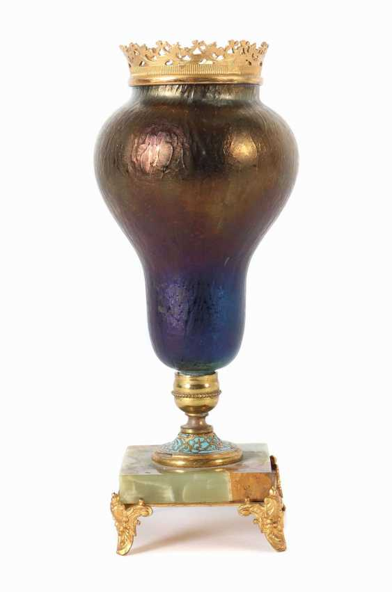 Vase mit Steinfuß Böhmen - photo 1