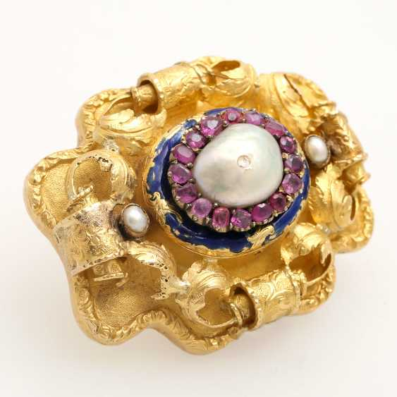 Foam gold brooch with precious stones, - photo 2