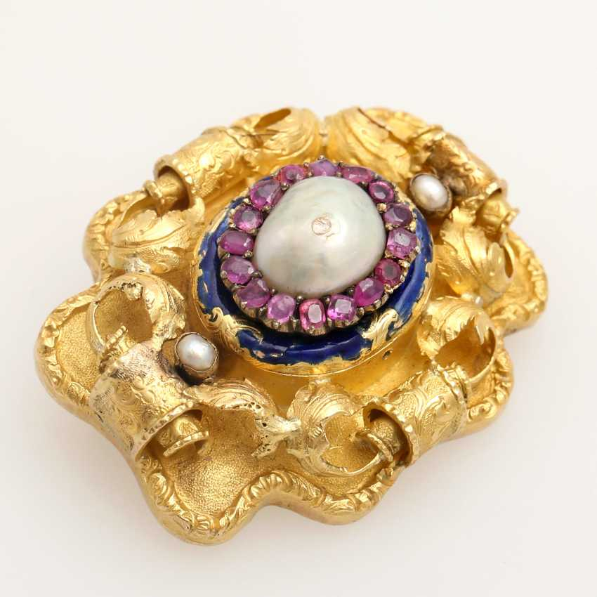 Foam gold brooch with precious stones, - photo 3