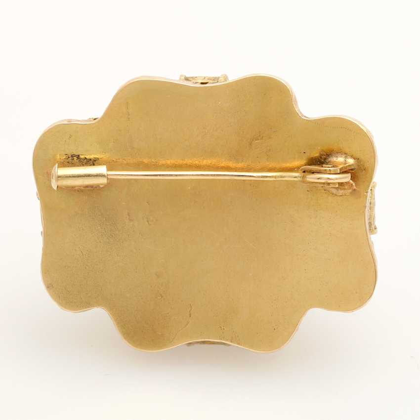 Foam gold brooch with precious stones, - photo 4