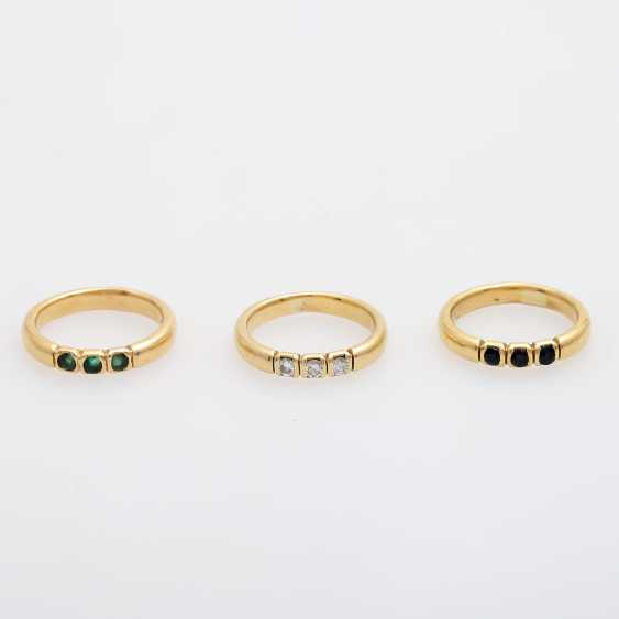 Set of 3 rings with precious stones, - photo 1