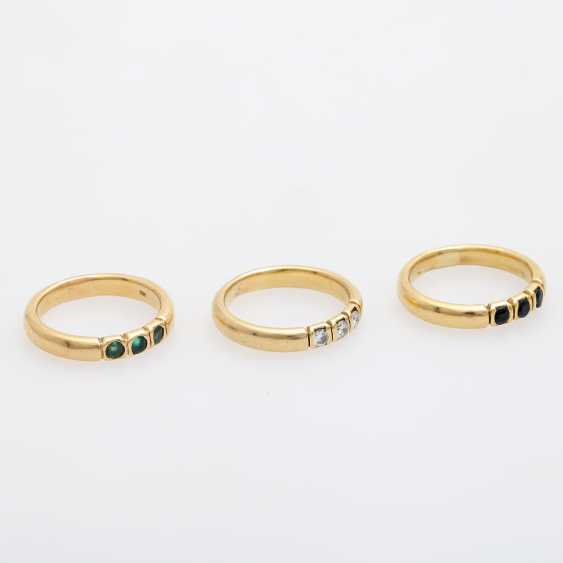 Set of 3 rings with precious stones, - photo 2