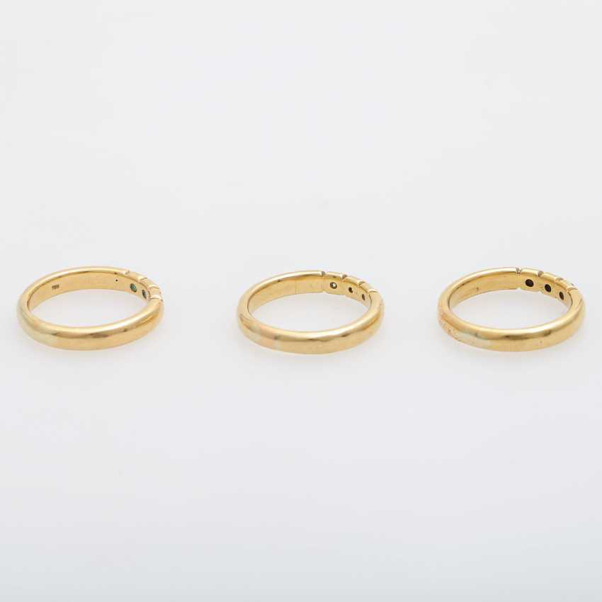 Set of 3 rings with precious stones, - photo 3