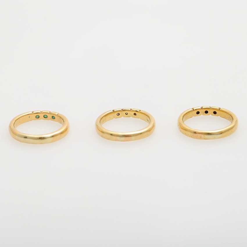 Set of 3 rings with precious stones, - photo 4
