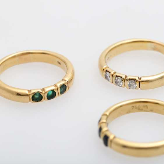 Set of 3 rings with precious stones, - photo 5