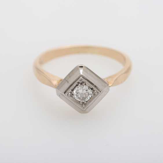 Ring mit Brilliant ca. 0,2ct., W (H) / VS, - photo 1