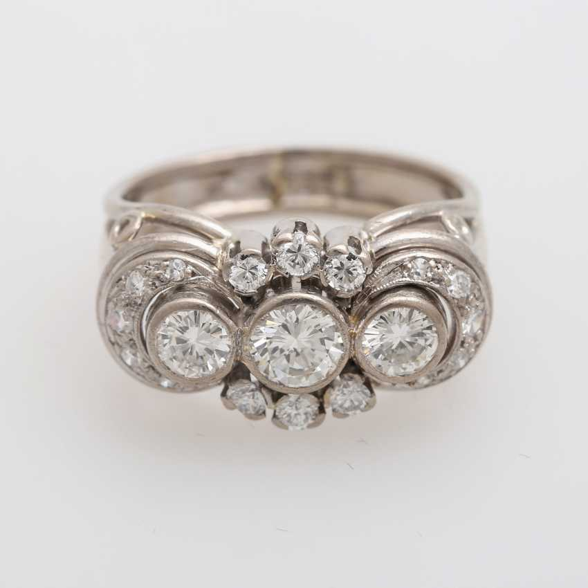 Ring with 3 Brilliant together approx. 0,85 ct., - photo 1