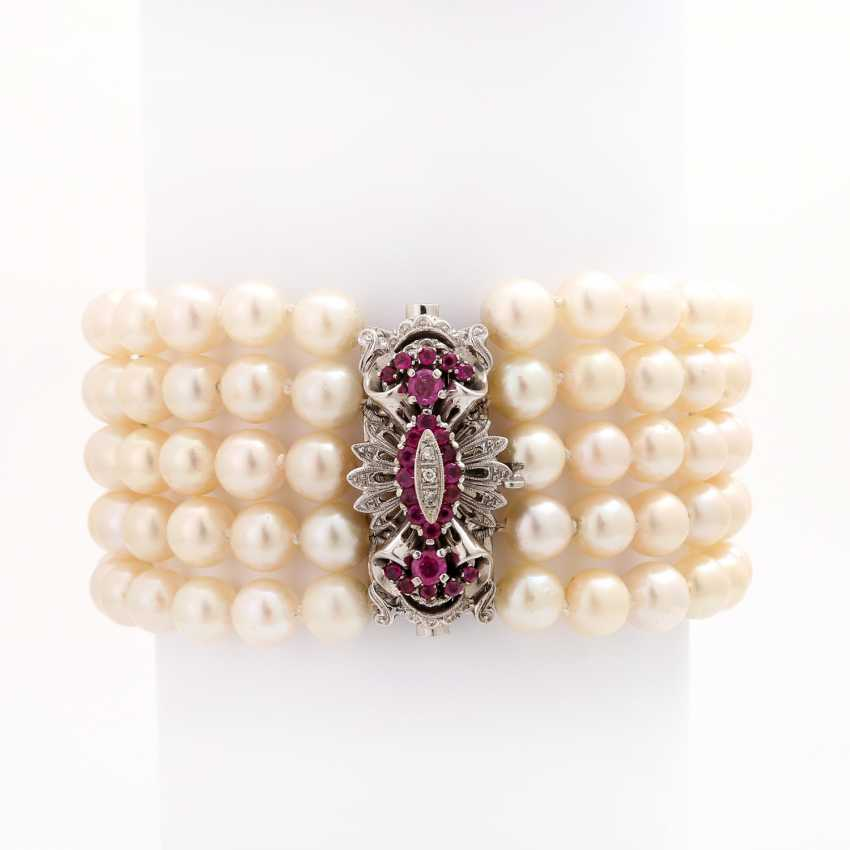 Akoja cultured pearl bracelet, 5-row, - photo 2