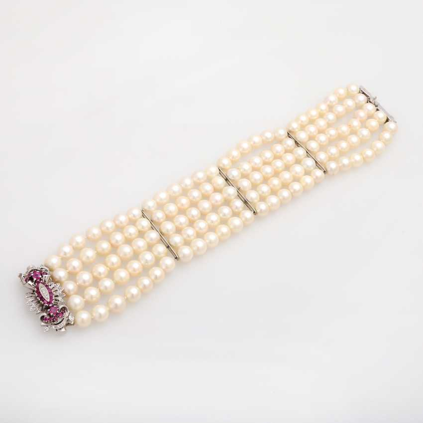 Akoja cultured pearl bracelet, 5-row, - photo 3