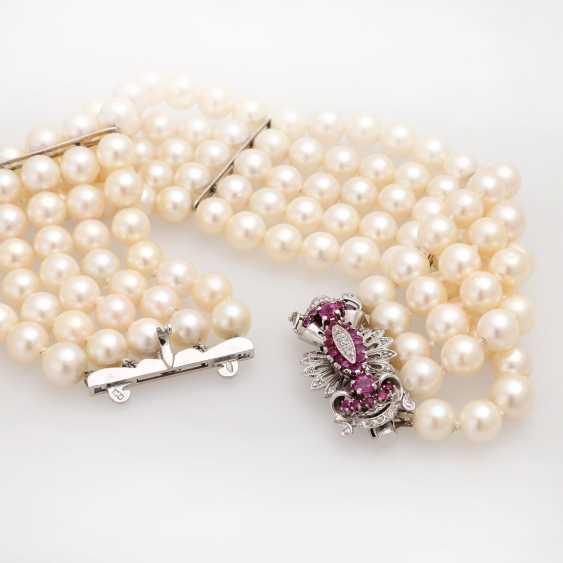 Akoja cultured pearl bracelet, 5-row, - photo 4