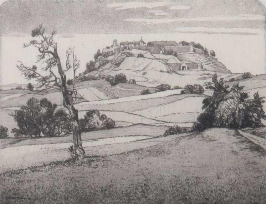 Hollenberg, Felix Sterkrade/Ruhr 1868 - 1945 Gomadingen, Landschaftsmaler und Grafiker in Stuttgart, Stud. an den Akad. Düsseldorf und Stuttgart. ''Der Asperg'' - photo 1