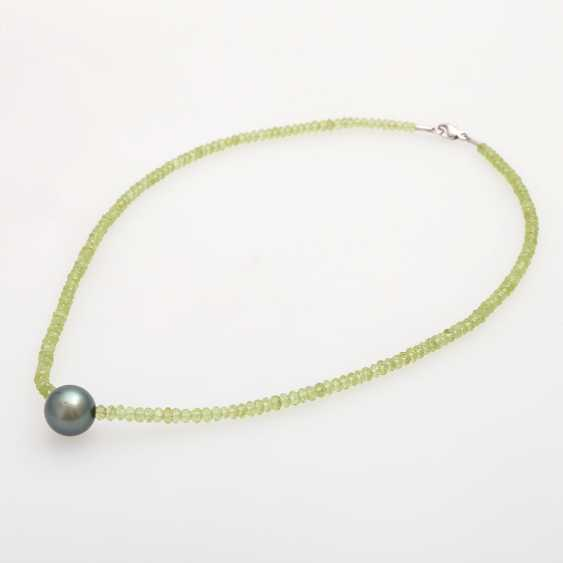 Necklace made from fac. Peridot, in the middle, 1 Tahitian pearl - photo 3